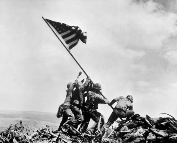 Wall Art - Photograph - The Second Flag Raising On Iwo Jima by Everett