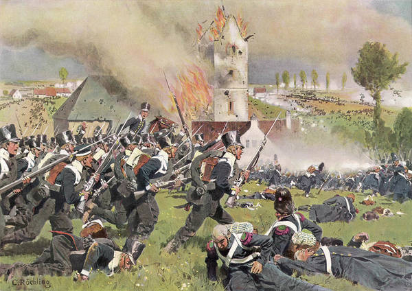 Wall Art - Drawing - The Second Prussian Regiment  Attacks by Mary Evans Picture Library