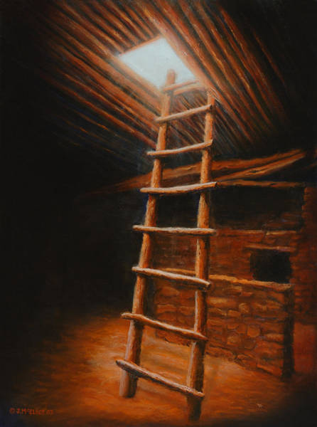 Anasazi Painting - The Second World by Jerry McElroy