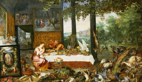 Swan Photograph - The Sense Of Taste, 1618 Oil On Panel by Jan Brueghel