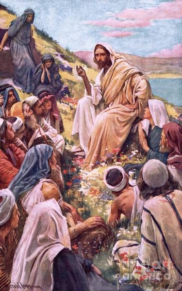 God The Father Wall Art - Painting - The Sermon On The Mount by Harold Copping
