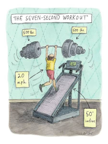 Drawing - The Seven Second Workout by Roz Chast