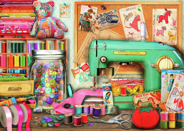 Wall Art - Painting - The Sewing Desk by MGL Meiklejohn Graphics Licensing
