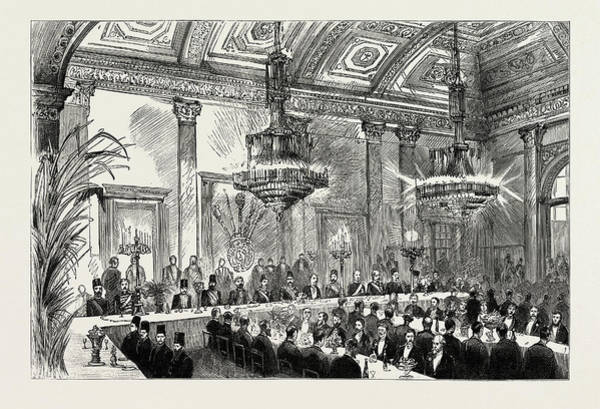 Wall Art - Drawing - The Shah Of Persia In England, Uk, 1889 The Banquet by Litz Collection