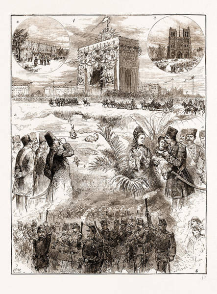 Notre Dame Drawing - The Shah Of Persia Iran In Paris France 1873 by Litz Collection