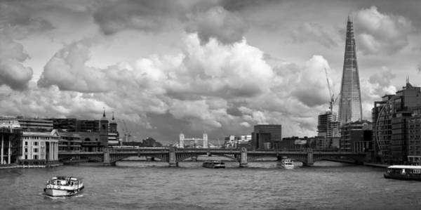 Photograph - The Shard And Thames View Black And White Version by Gary Eason