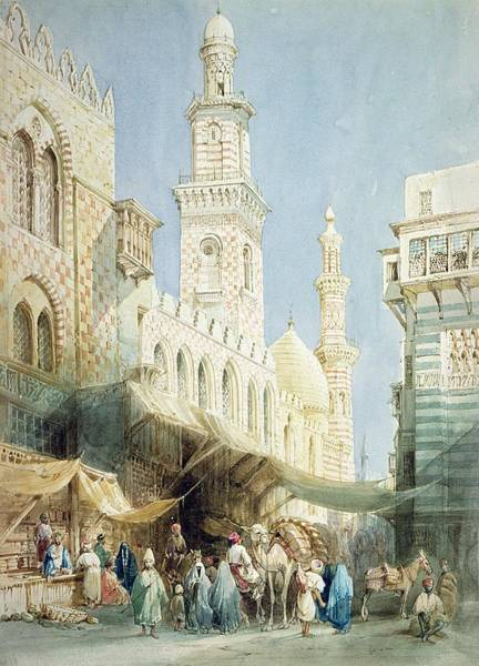 Market Square Photograph - The Sharia  El Gohargiyeh, Cairo by William Henry Bartlett