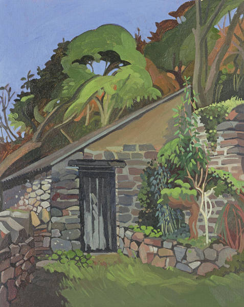 English Garden Photograph - The Shed, Clovelly Oil On Board by Anna Teasdale