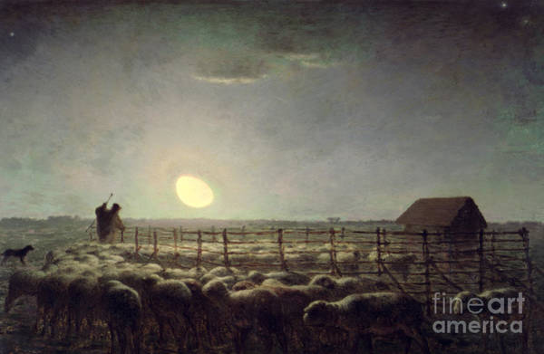 Crook Wall Art - Painting - The Sheepfold   Moonlight by Jean Francois Millet
