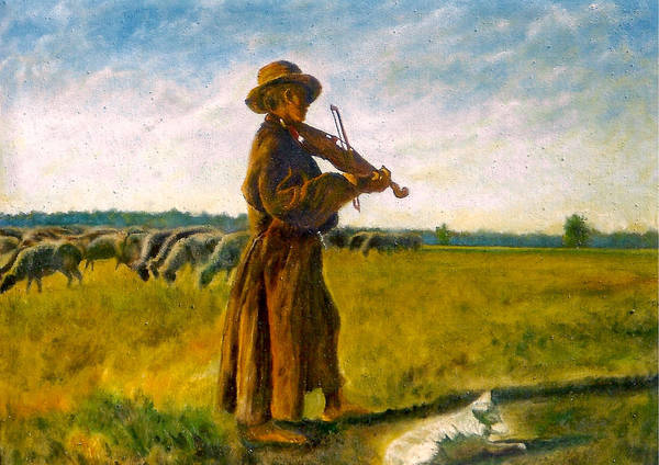 Umber Painting - The Shepherd by Henryk Gorecki