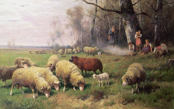 Idyll Photograph - The Shepherds Family by Adolf Ernst Meissner
