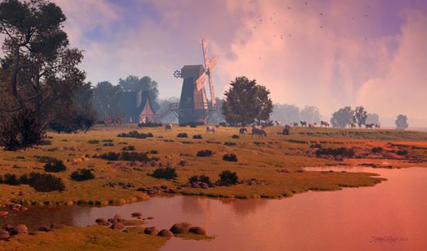 Digital Art - The Shepherd's Mill by Dieter Carlton
