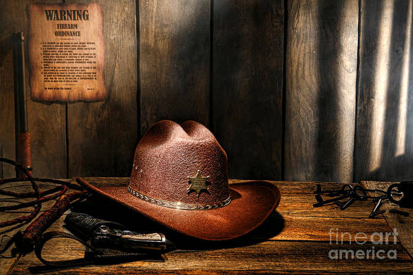Cowboy Hat Photograph - The Sheriff Office by Olivier Le Queinec