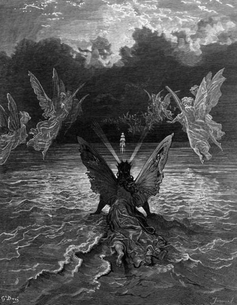 Miracle Drawing - The Ship Continues To Sail Miraculously Moved By A Troupe Of Angelic Spirits by Gustave Dore