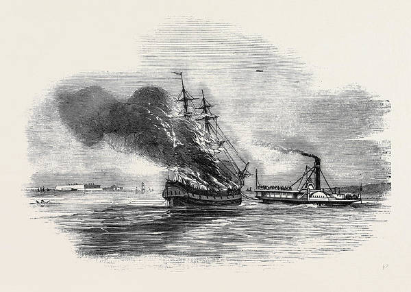 Wall Art - Drawing - The Ship Lord Ashburton On Fire by English School