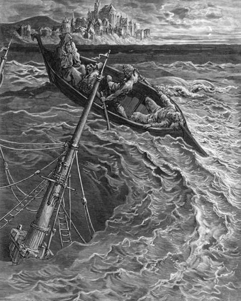 Stormy Drawing - The Ship Sinks But The Mariner Is Rescued By The Pilot And Hermit by Gustave Dore