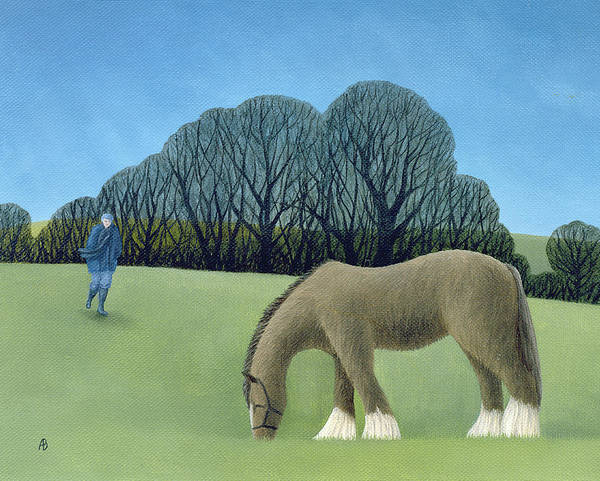 English Countryside Photograph - The Shire Horse, 2006 Oil On Canvas by Ann Brain