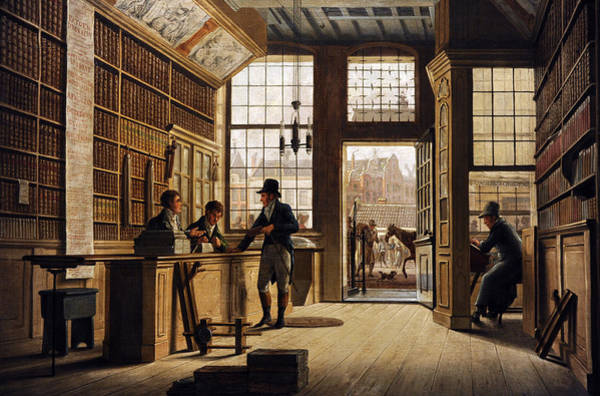 Wall Art - Photograph - The Shop Of The Bookdealer Pieter Meijer Warnars On The Vijgendam In Amsterdam, 1820, By Johannes by Bridgeman Images