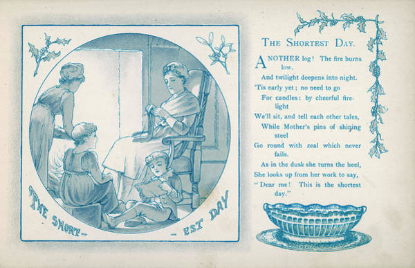 Twilight Drawing - The Shortest Day  Everyone Gathers by Mary Evans Picture Library