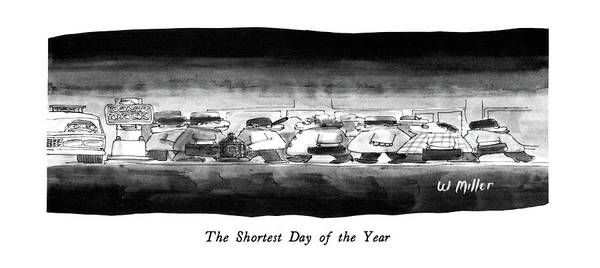 Winter Landscapes Drawing - The Shortest Day Of The Year by Warren Miller