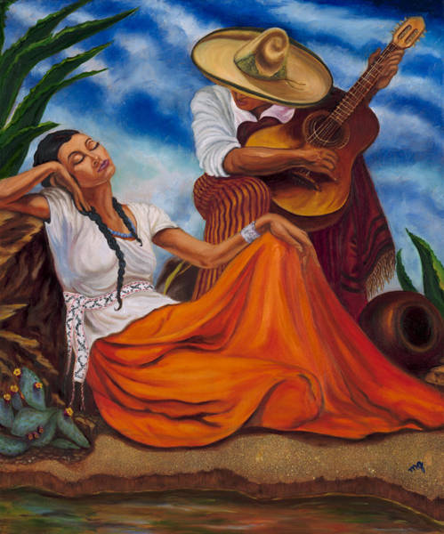 Sombrero Painting - The Singers by Maria Gibbs