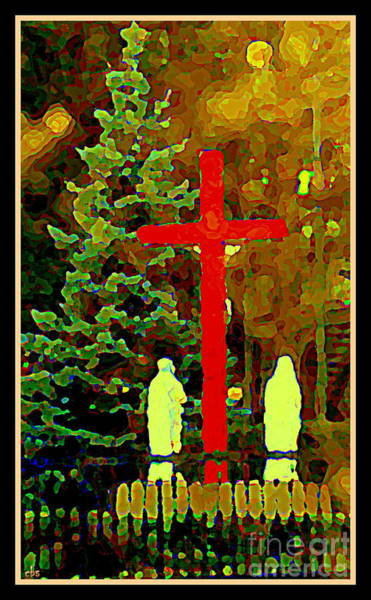 Painting - The Single Cross - A Simple Shrine Notre Dame De Lourdes -  Red Cross At The Grotto - Carole Spandau by Carole Spandau