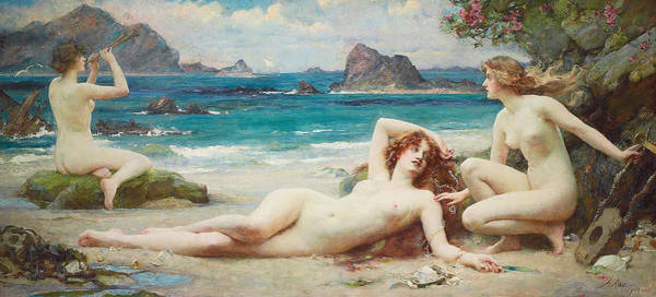Wall Art - Painting - The Sirens by Henrietta Rae