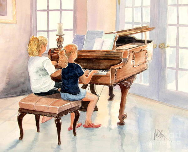Grand Piano Painting - The Sister Duet by Marilyn Smith