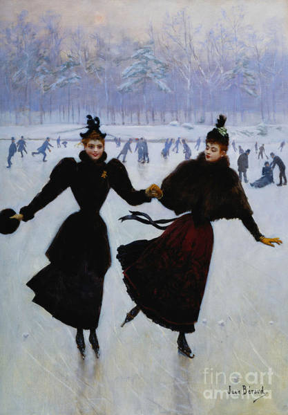 Ice Wall Art - Painting - The Skaters by Jean Beraud