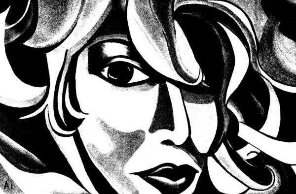 Digital Art - Black And White Abstract Woman Face Art by Ai P Nilson
