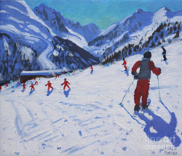 Winter Fun Painting - The Ski Instructor by Andrew Macara