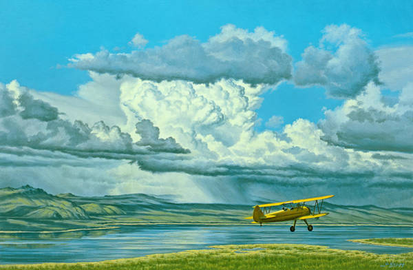 California Landscape Painting - The Sky-stearman Biplane by Paul Krapf