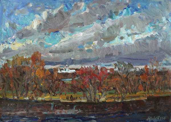 Russian Impressionism Wall Art - Painting - The Sky The Wind And The River by Juliya Zhukova