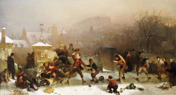 Winter Sports Painting - The Slide Below The Castle Edinburgh by John Ritchie