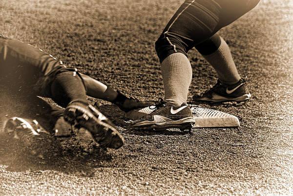 Softball Photograph - The Slide by Dale Stillman