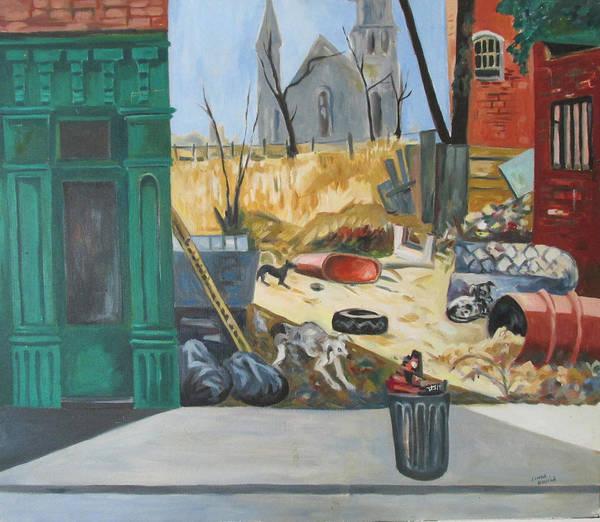 Painting - The Slum Dogs by Linda Novick