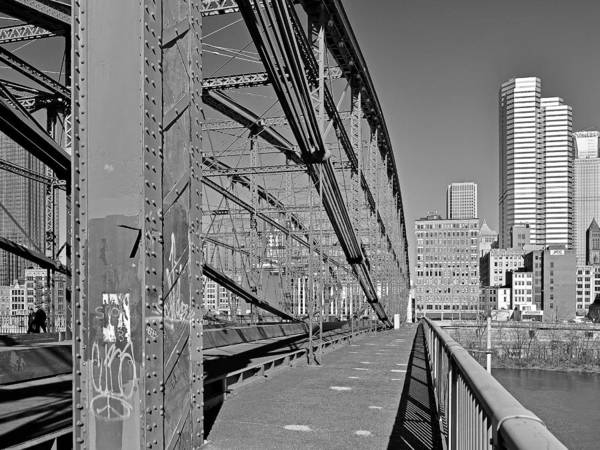 Photograph - The Smithfield Street Bridge Trusses And Ironwork. by Digital Photographic Arts