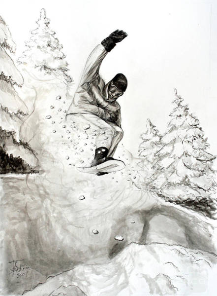 Painting - The Snowboarder by Art By - Ti   Tolpo Bader