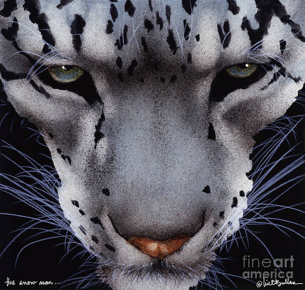 Snow Leopard Wall Art - Painting - The Snow Man... by Will Bullas