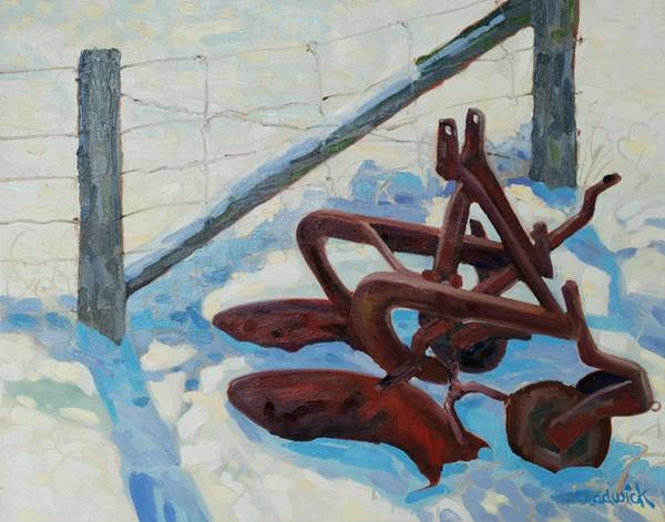 Birder Painting - The Snow Plow by Phil Chadwick