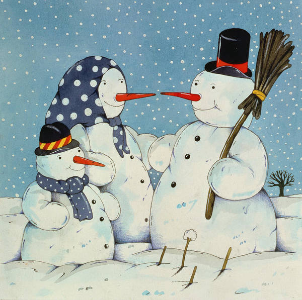 Broom Wall Art - Painting - The Snowman Family by Christian Kaempf