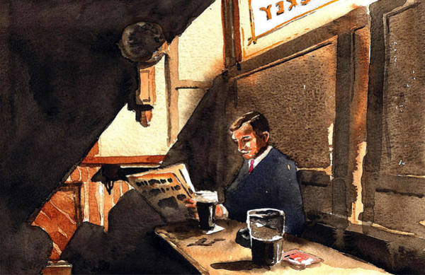 Painting - Dublin The Snug Doheny And Nesbits by Val Byrne