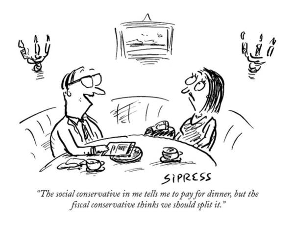 February 22nd Drawing - The Social Conservative In Me Tells Me To Pay by David Sipress