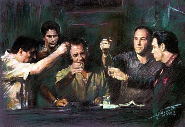 Gangster Wall Art - Drawing - The Sopranos by Viola El
