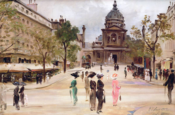 Parisian Cafe Painting - The Sorbonne by Leon-Marie Coutil