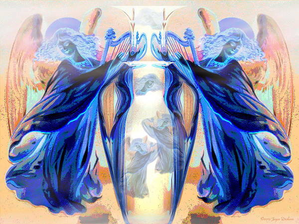 Harp Digital Art - The Sounds Of Angels by Joyce Dickens
