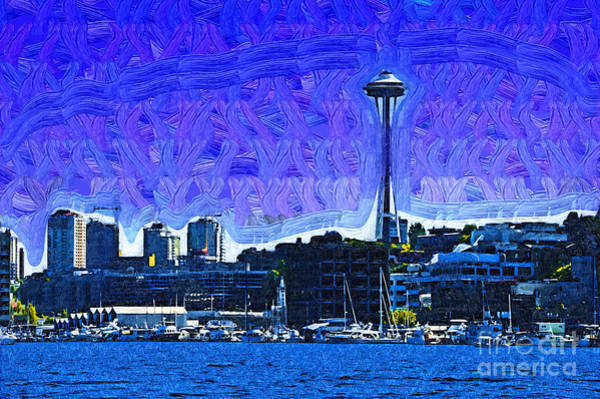 Digital Art - The Space Needle From Lake Union by Kirt Tisdale