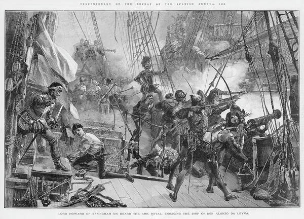 Alonzo Drawing - The Spanish Armada Lord Howard by  Illustrated London News Ltd/Mar