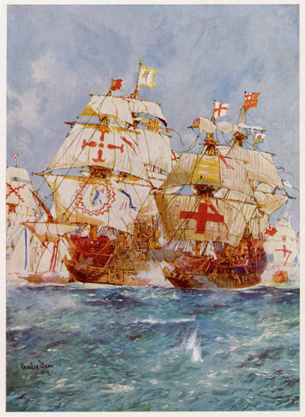 Wall Art - Drawing - The Spanish Armada Lord Howard by Mary Evans Picture Library