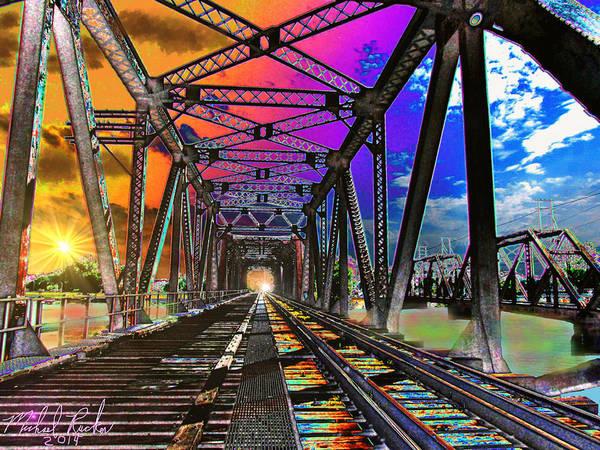 Digital Art - The Spectrum Bridge by Michael Rucker